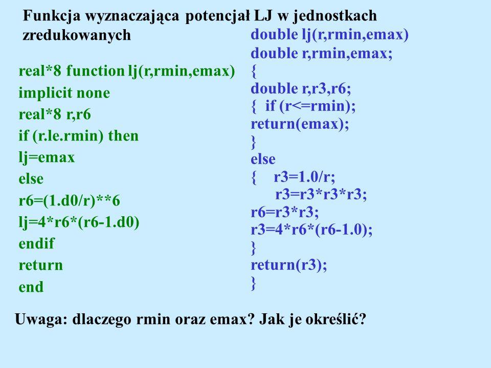 Funkcja wyznaczająca potencjał LJ w jednostkach