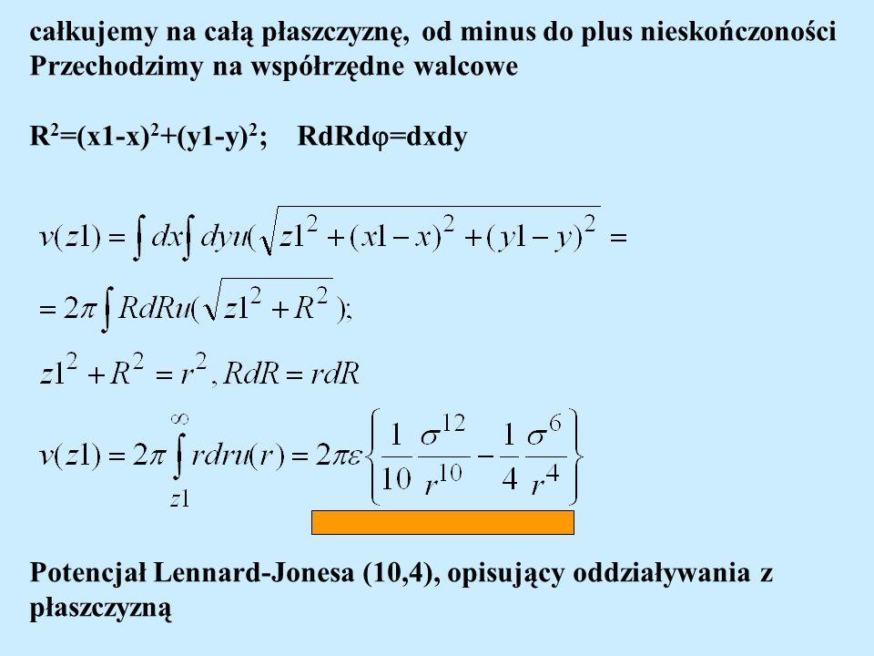 całkujemy na całą płaszczyznę, od minus do plus nieskończoności