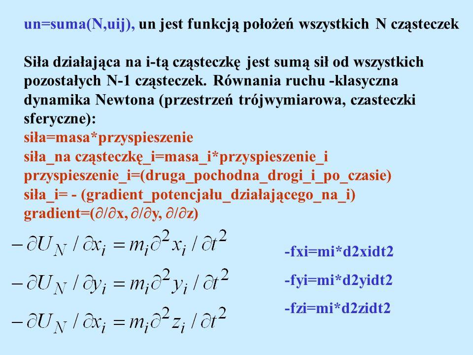 un=suma(N,uij), un jest funkcją położeń wszystkich N cząsteczek