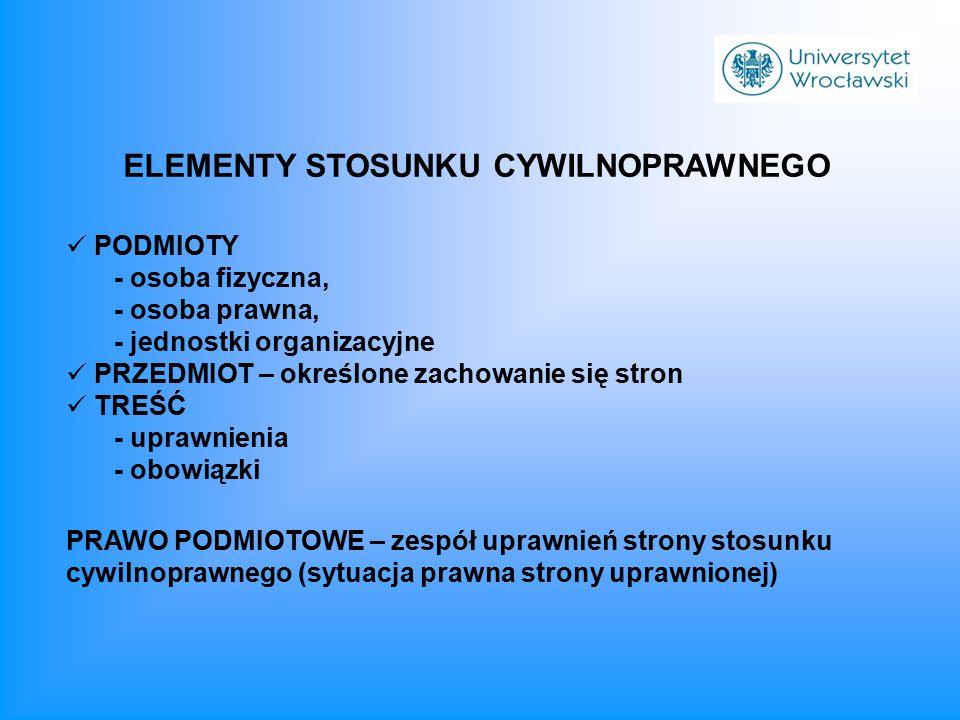 ELEMENTY STOSUNKU CYWILNOPRAWNEGO