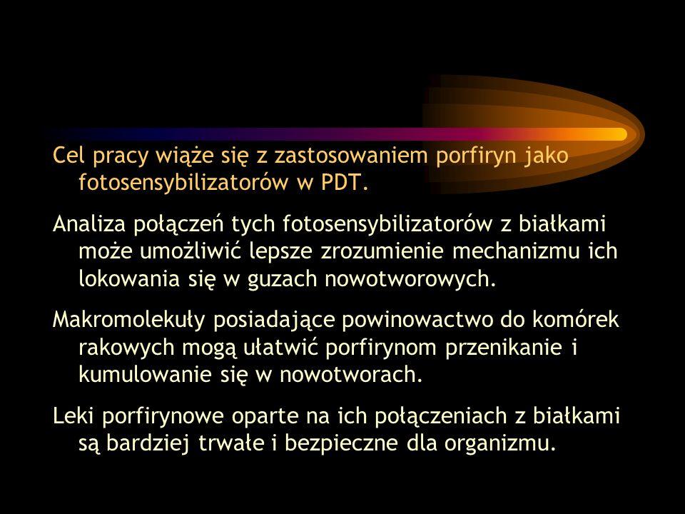 Cel pracy wiąże się z zastosowaniem porfiryn jako fotosensybilizatorów w PDT.