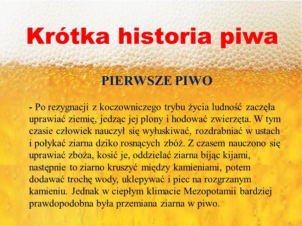 Krótka historia piwa PIERWSZE PIWO