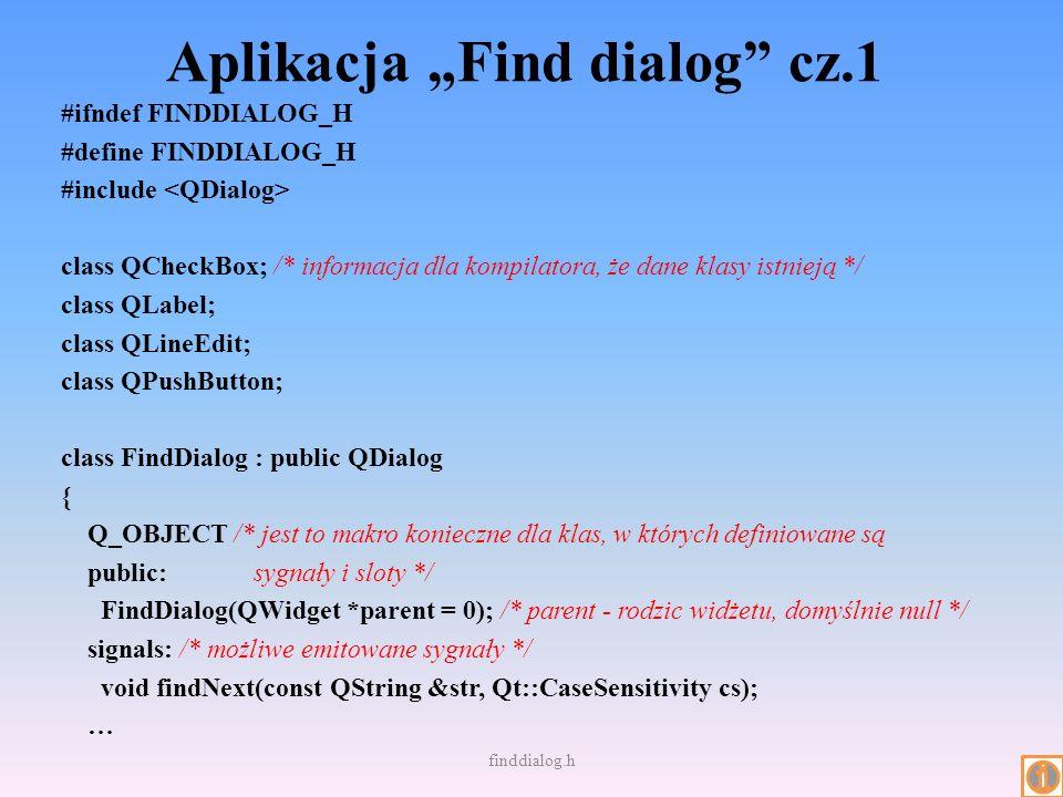 """Aplikacja """"Find dialog cz.1"""
