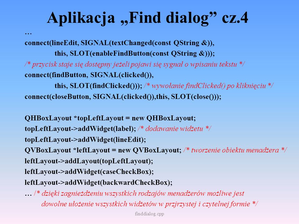 """Aplikacja """"Find dialog cz.4"""