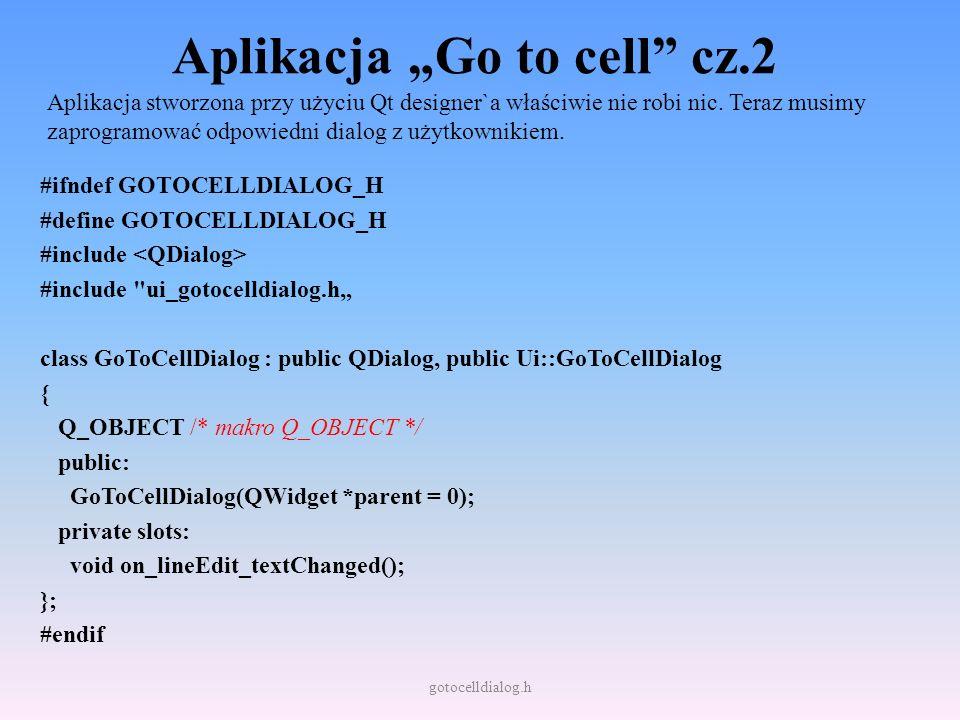 """Aplikacja """"Go to cell cz.2"""