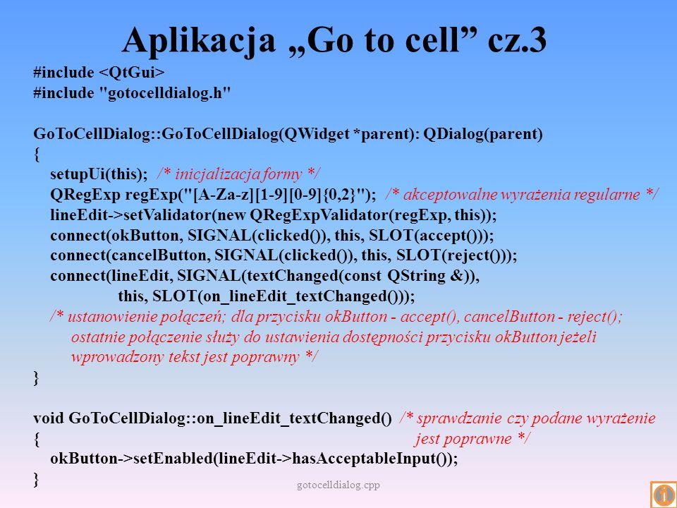 """Aplikacja """"Go to cell cz.3"""