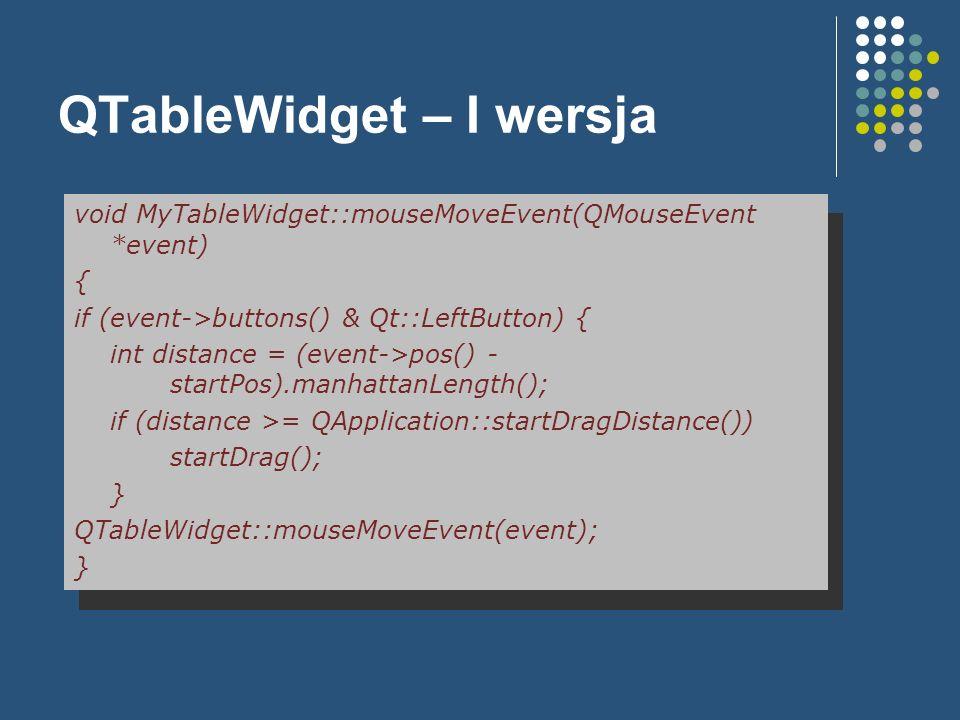 QTableWidget – I wersja