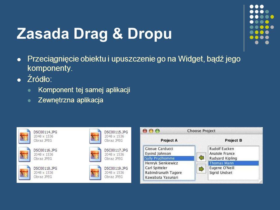 Zasada Drag & Dropu Przeciągnięcie obiektu i upuszczenie go na Widget, bądź jego komponenty. Źródło: