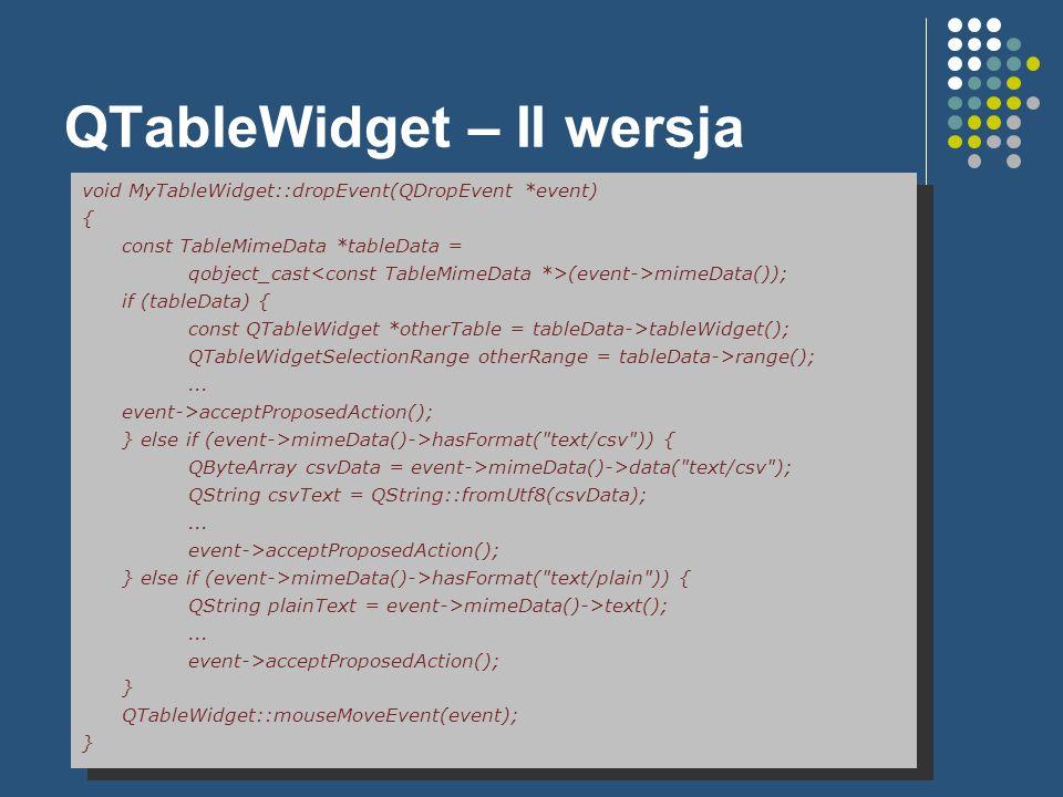 QTableWidget – II wersja