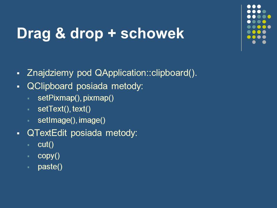 Drag & drop + schowek Znajdziemy pod QApplication::clipboard().