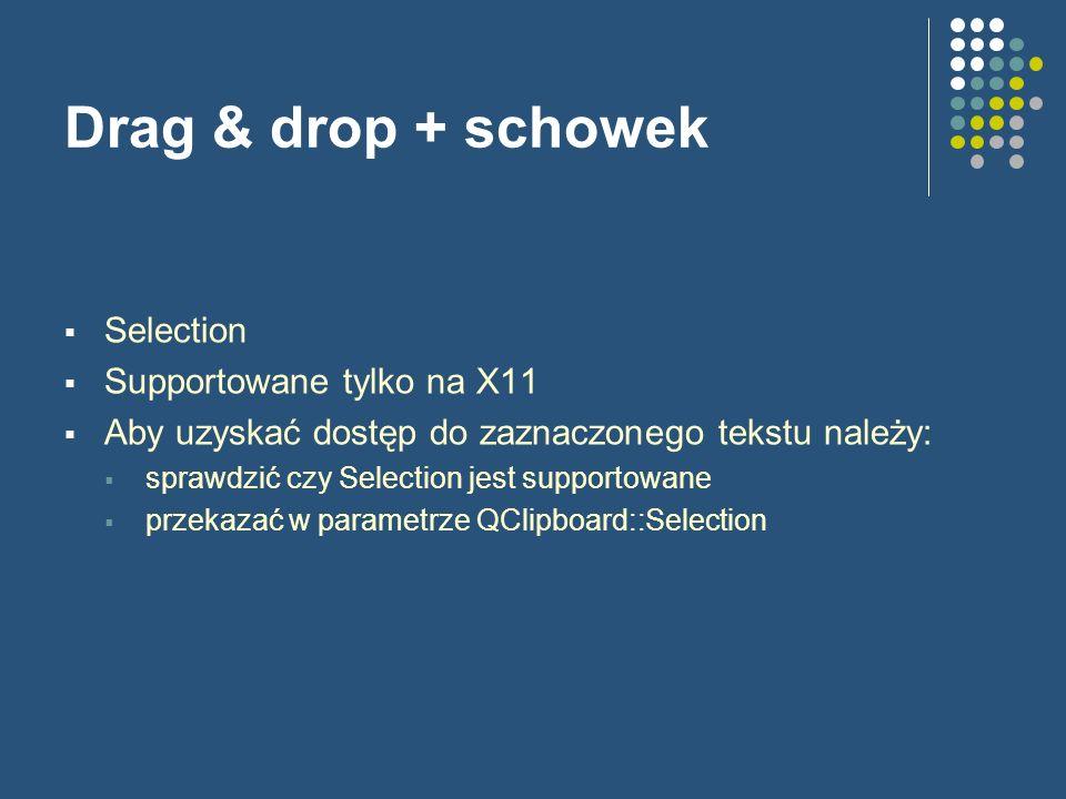 Drag & drop + schowek Selection Supportowane tylko na X11