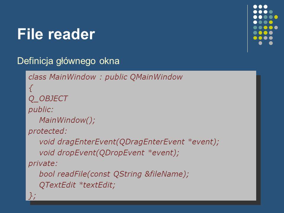 File reader Definicja głównego okna