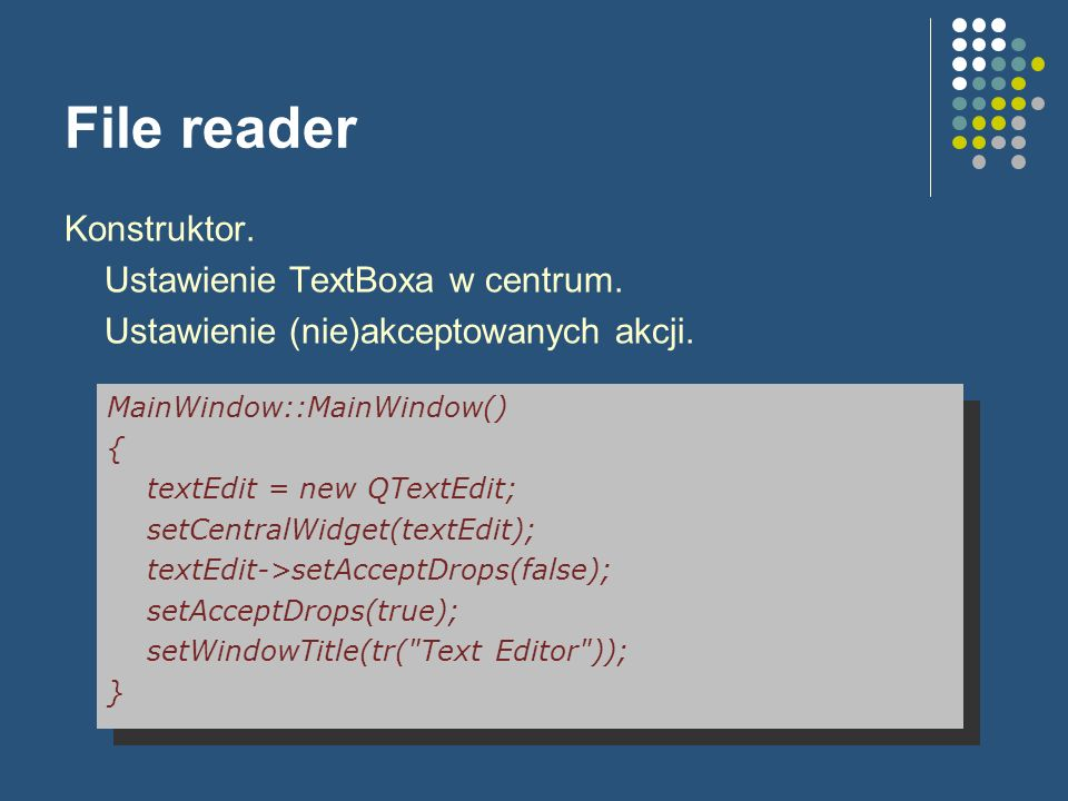 File reader Konstruktor. Ustawienie TextBoxa w centrum.