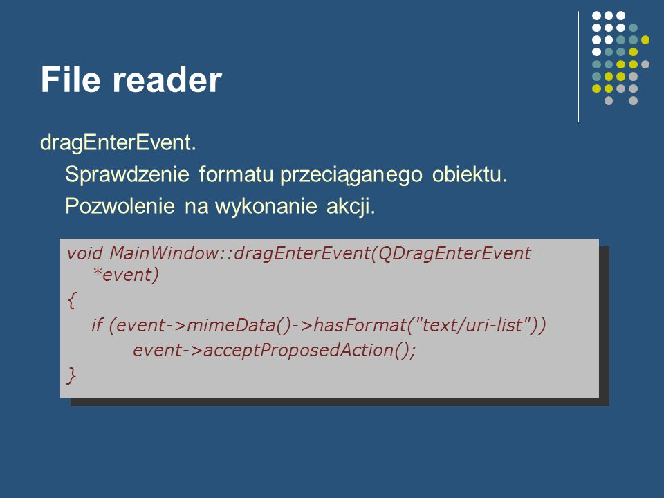 File reader dragEnterEvent. Sprawdzenie formatu przeciąganego obiektu.
