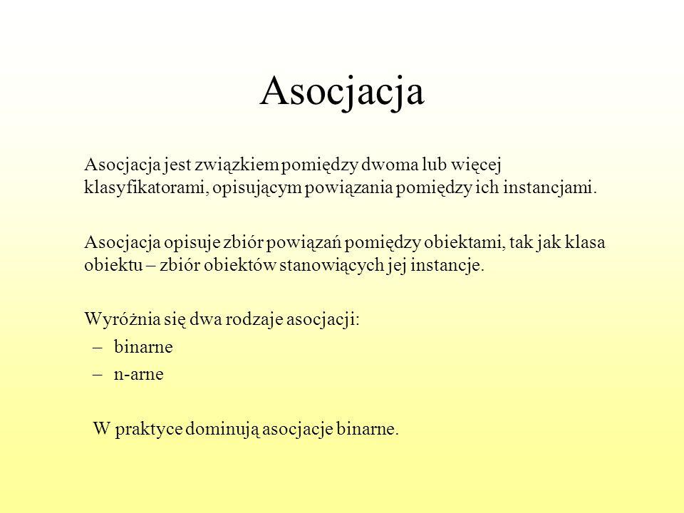 Asocjacja Asocjacja jest związkiem pomiędzy dwoma lub więcej klasyfikatorami, opisującym powiązania pomiędzy ich instancjami.
