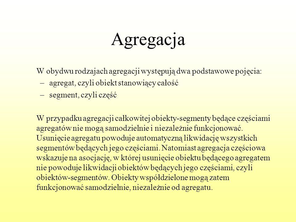 Agregacja W obydwu rodzajach agregacji występują dwa podstawowe pojęcia: agregat, czyli obiekt stanowiący całość.