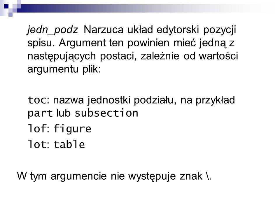 jedn_podz Narzuca układ edytorski pozycji spisu