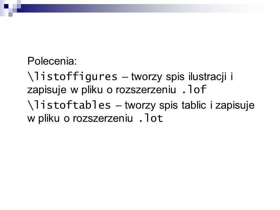 Polecenia: \listoffigures – tworzy spis ilustracji i zapisuje w pliku o rozszerzeniu .lof.