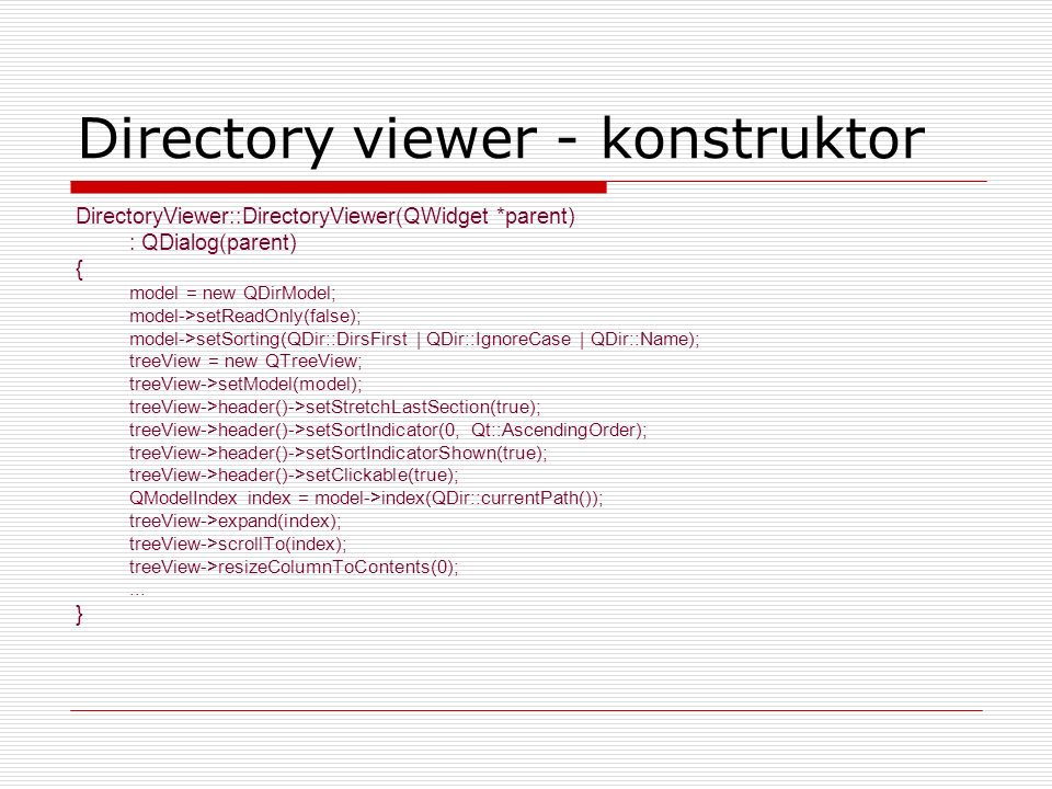 Directory viewer - konstruktor