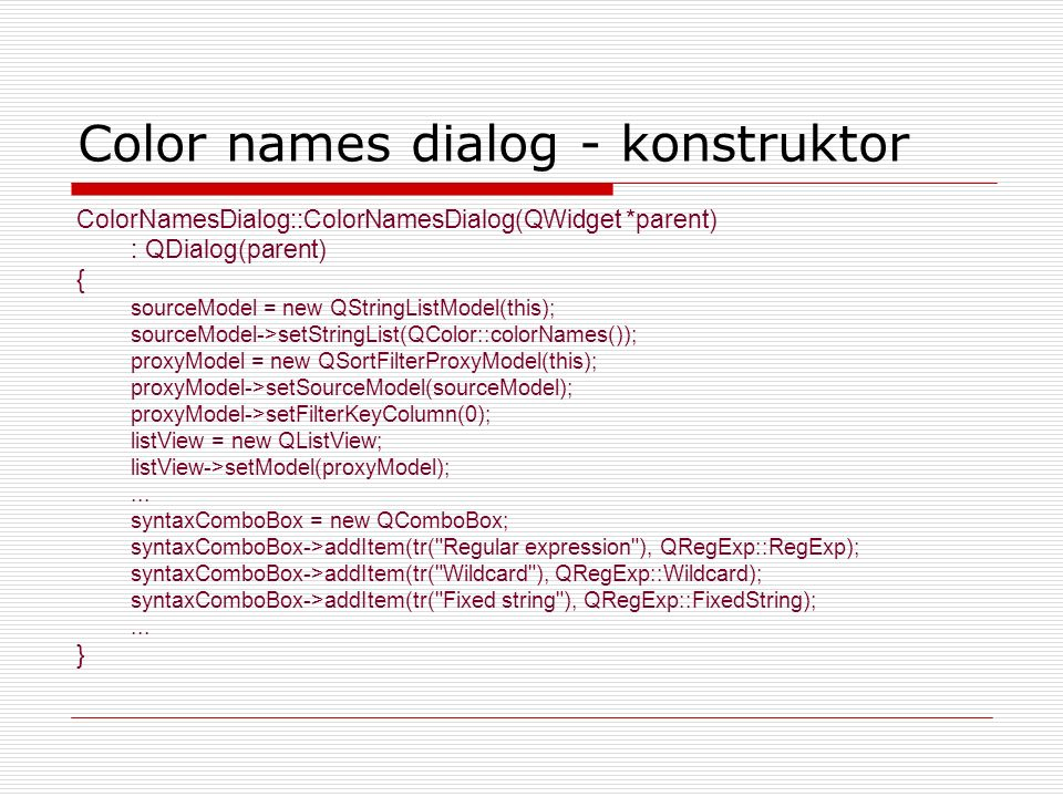 Color names dialog - konstruktor
