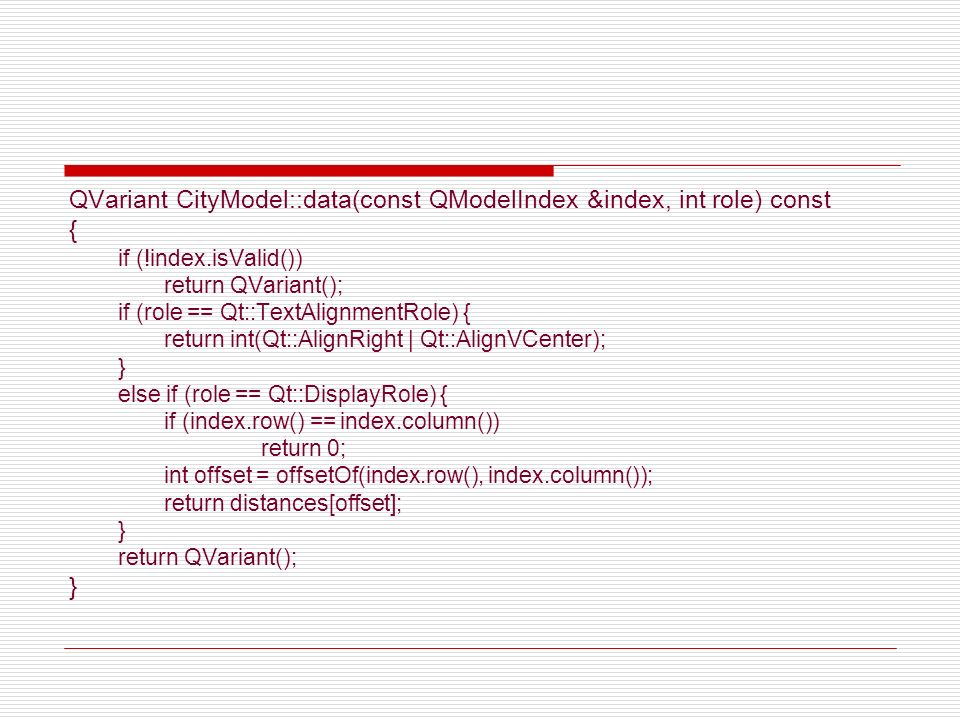 QVariant CityModel::data(const QModelIndex &index, int role) const {