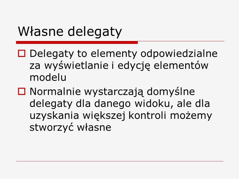 Własne delegaty Delegaty to elementy odpowiedzialne za wyświetlanie i edycję elementów modelu.