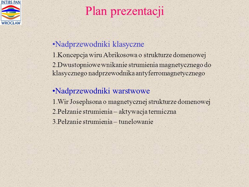 Plan prezentacji Nadprzewodniki klasyczne Nadprzewodniki warstwowe