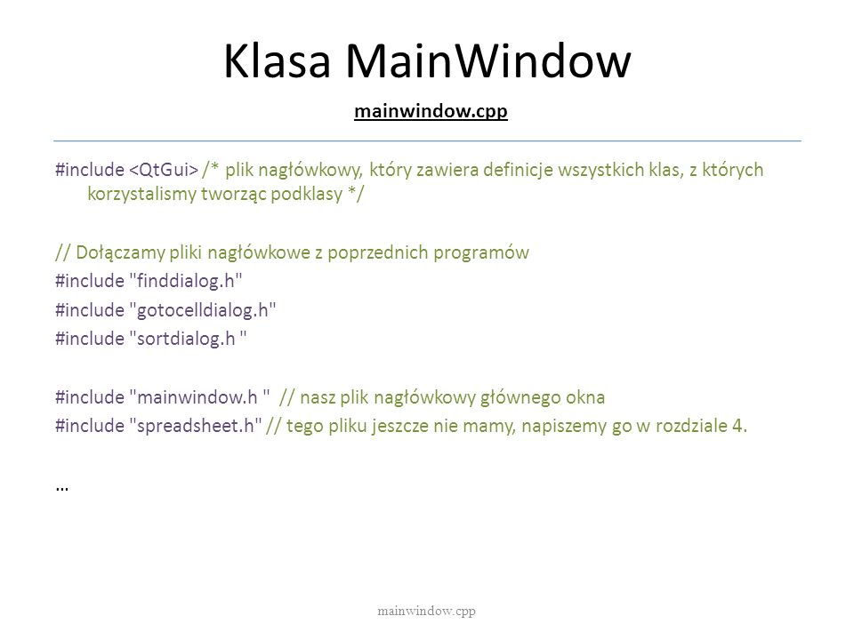 Klasa MainWindow mainwindow.cpp
