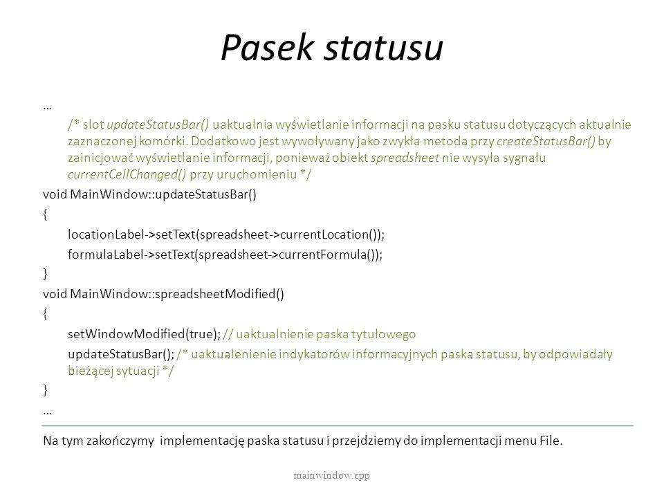 Pasek statusu