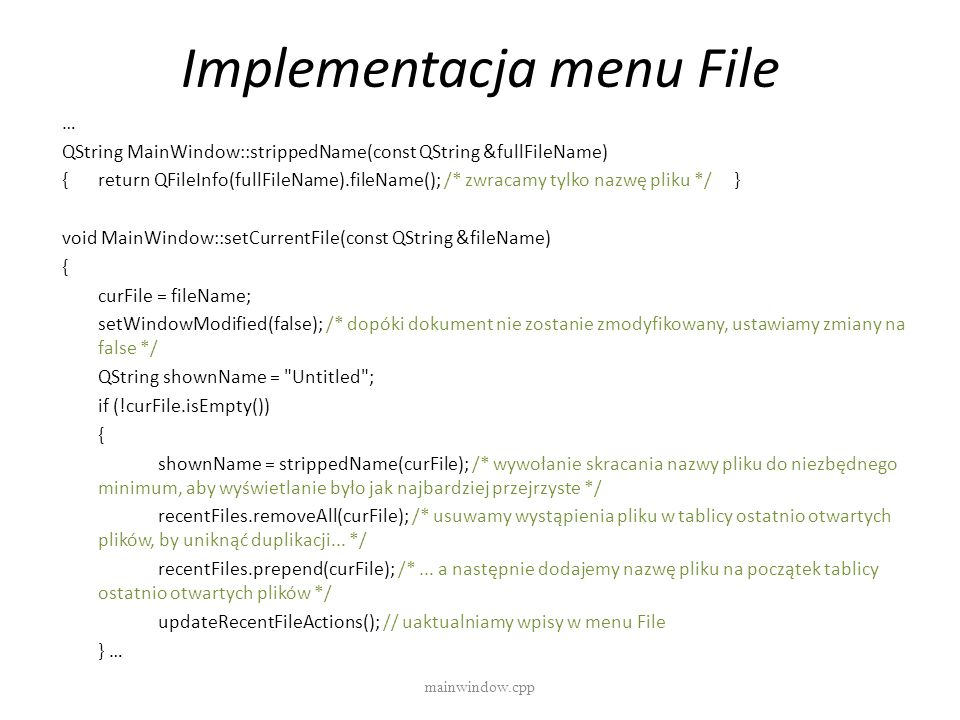 Implementacja menu File