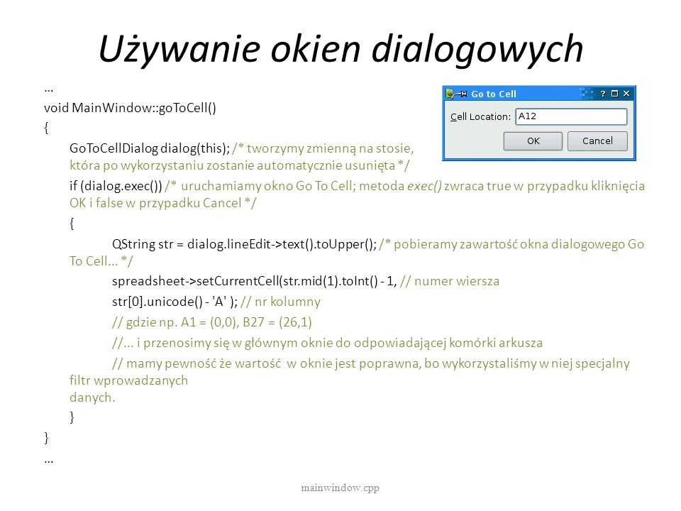 Używanie okien dialogowych