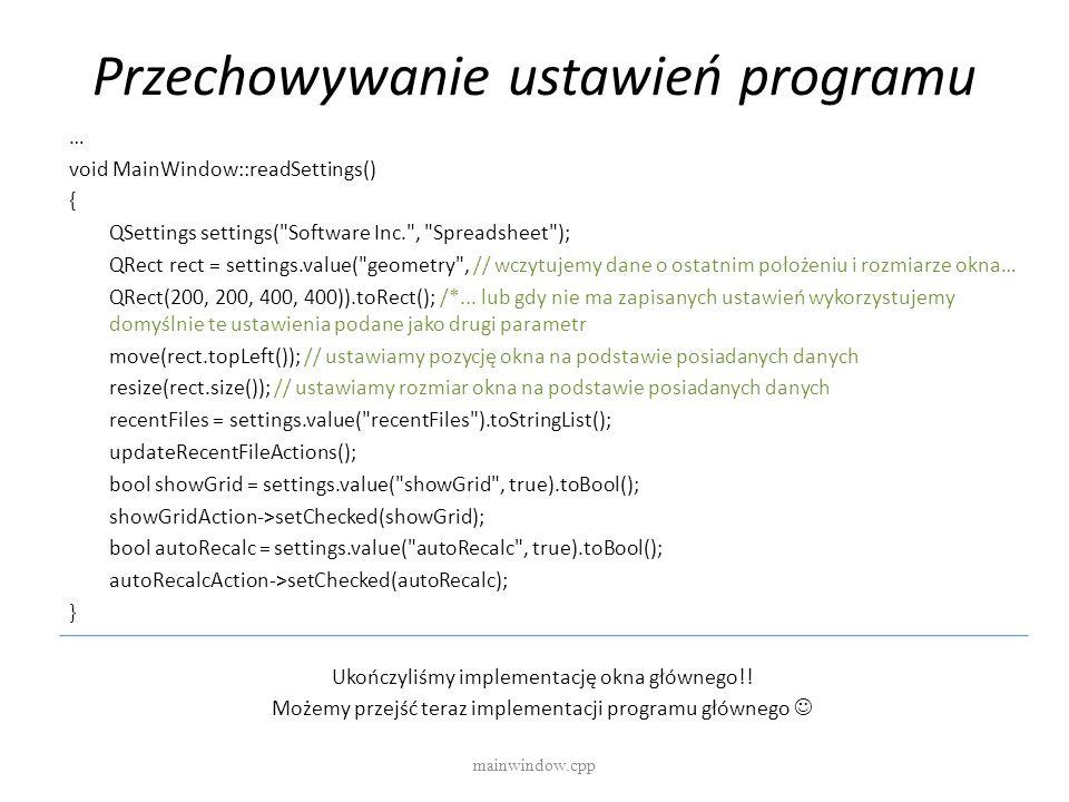 Przechowywanie ustawień programu