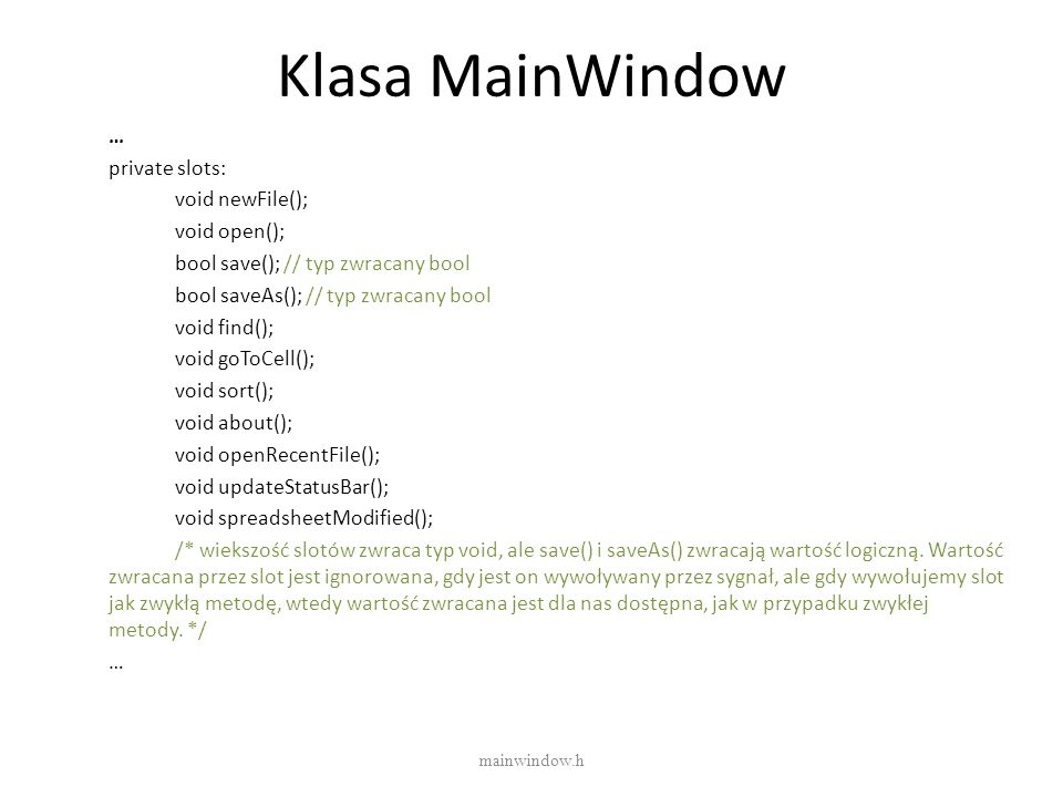 Klasa MainWindow