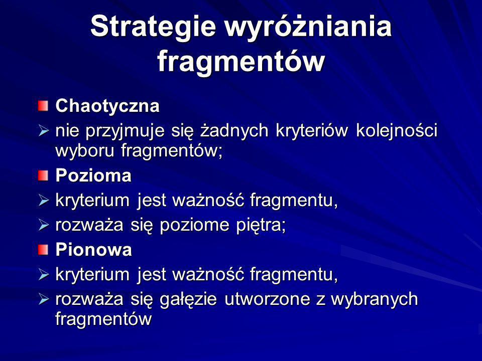 Strategie wyróżniania fragmentów