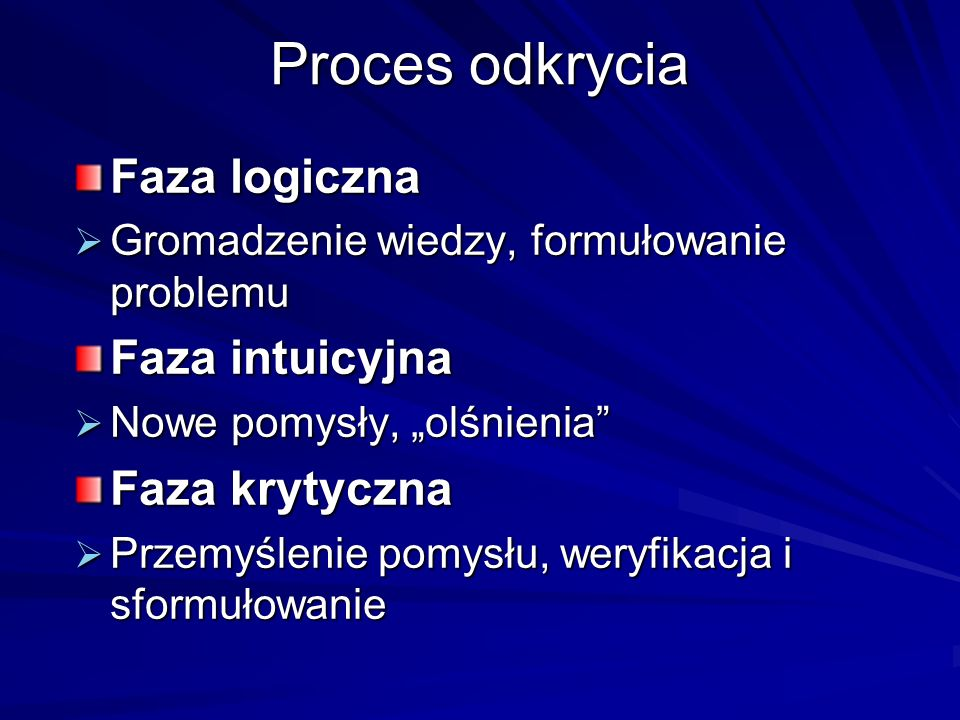 Proces odkrycia Faza logiczna Faza intuicyjna Faza krytyczna