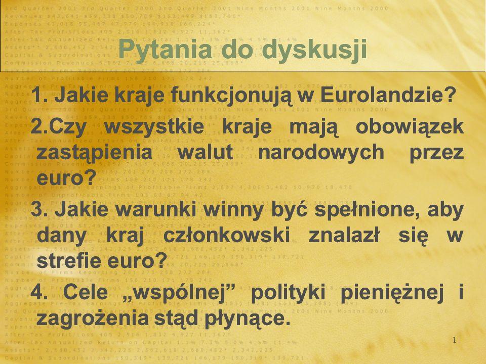 Pytania do dyskusji 1. Jakie kraje funkcjonują w Eurolandzie