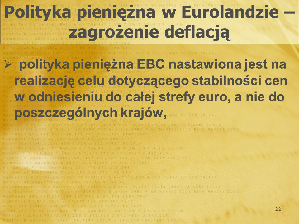 Polityka pieniężna w Eurolandzie – zagrożenie deflacją
