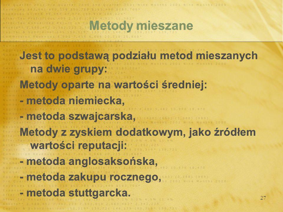 Metody mieszane Jest to podstawą podziału metod mieszanych na dwie grupy: Metody oparte na wartości średniej: