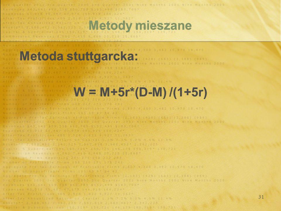 Metody mieszane Metoda stuttgarcka: W = M+5r*(D-M) /(1+5r)