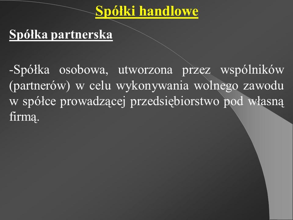 Spółki handlowe Spółka partnerska