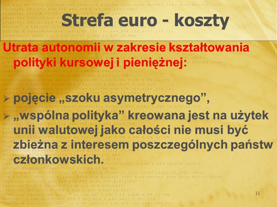 """Strefa euro - koszty Utrata autonomii w zakresie kształtowania polityki kursowej i pieniężnej: pojęcie """"szoku asymetrycznego ,"""