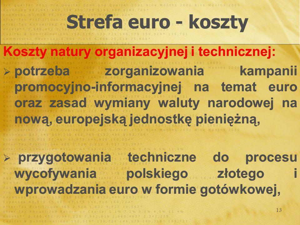 Strefa euro - koszty Koszty natury organizacyjnej i technicznej: