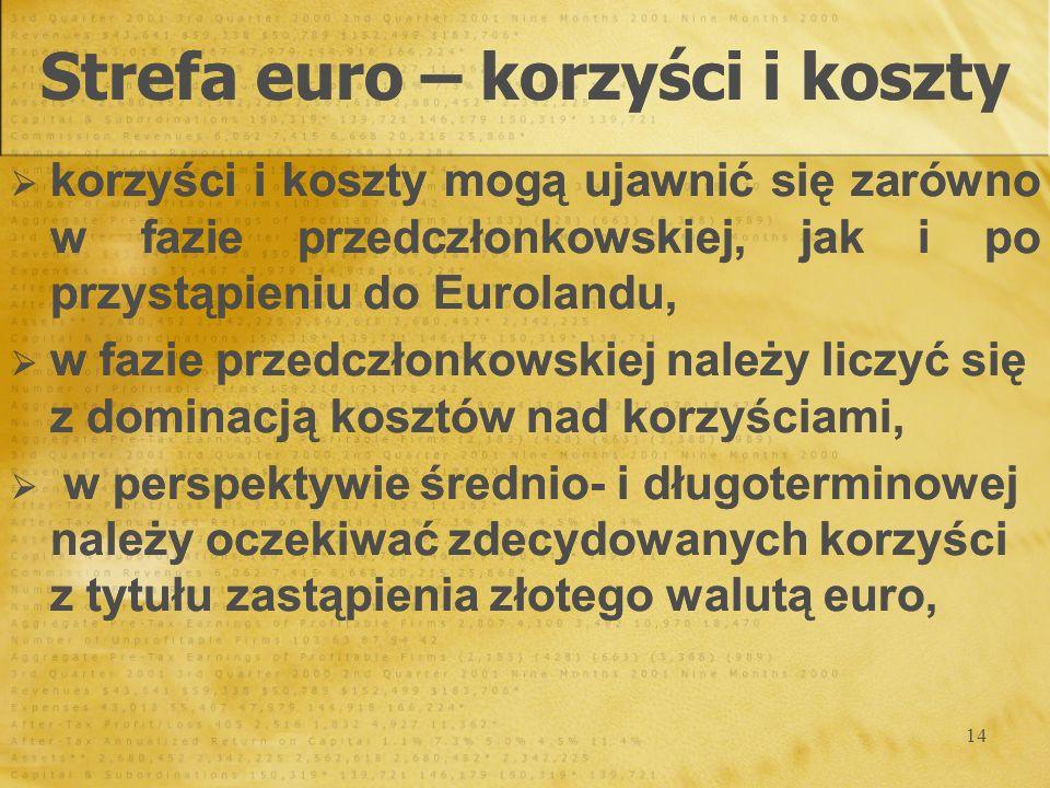 Strefa euro – korzyści i koszty
