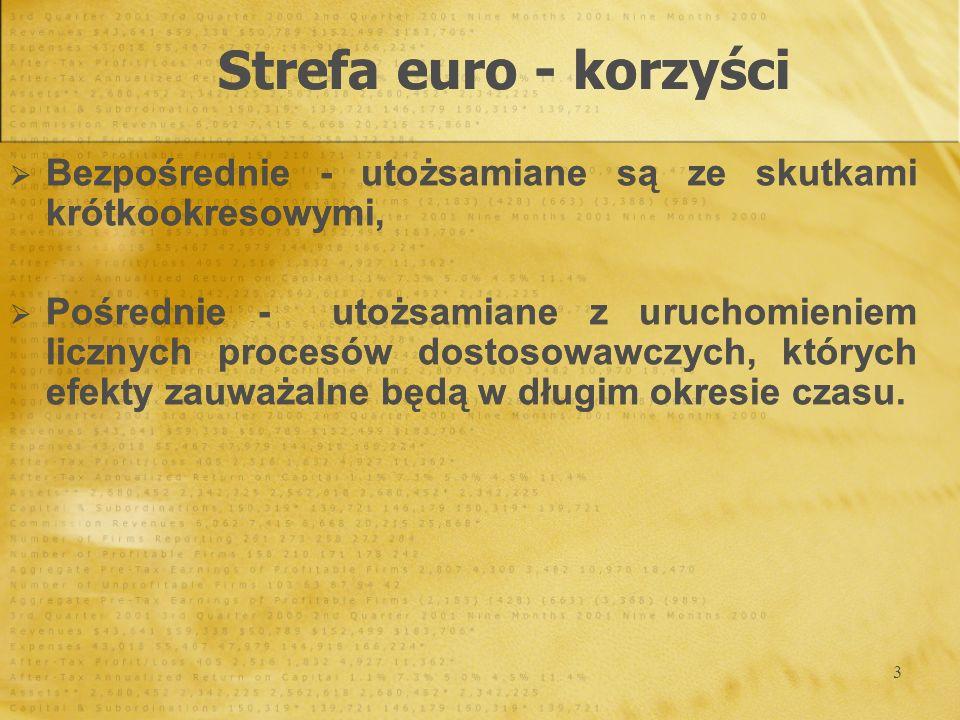 Strefa euro - korzyści Bezpośrednie - utożsamiane są ze skutkami krótkookresowymi,