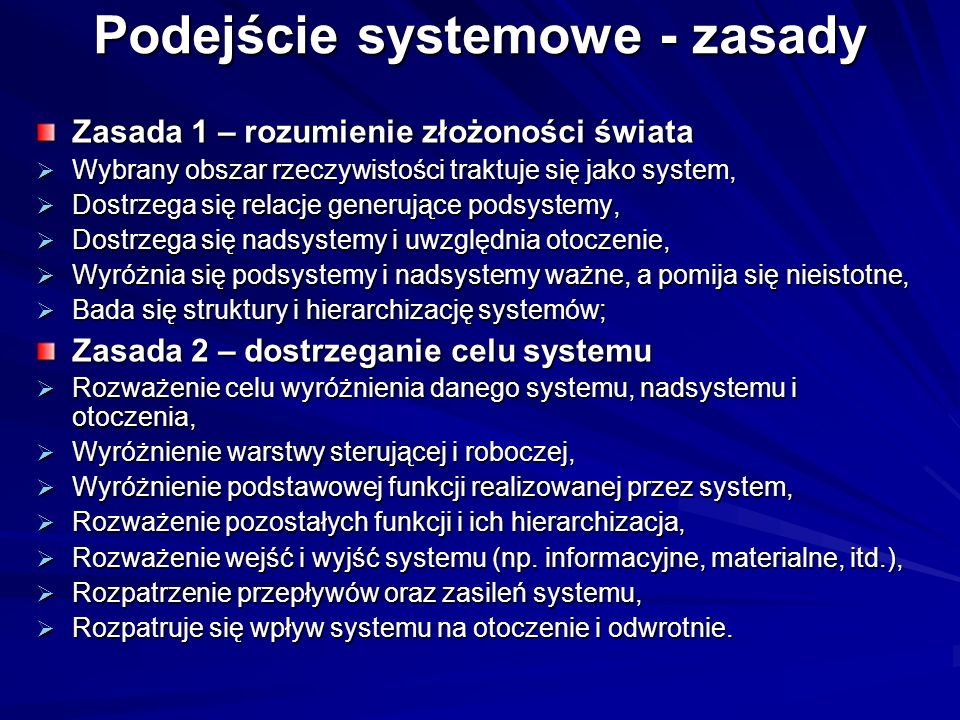 Podejście systemowe - zasady