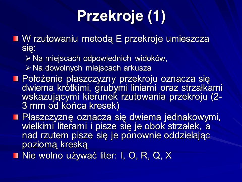 Przekroje (1) W rzutowaniu metodą E przekroje umieszcza się: