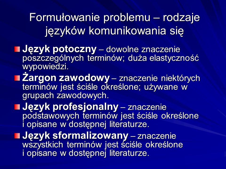Formułowanie problemu – rodzaje języków komunikowania się