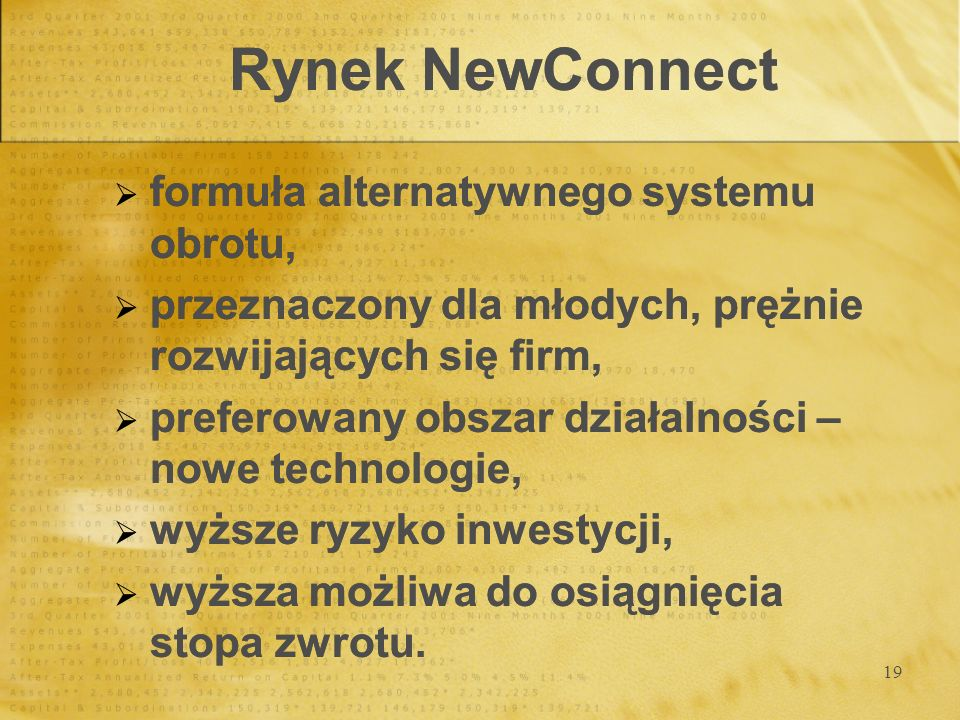 Rynek NewConnect formuła alternatywnego systemu obrotu,