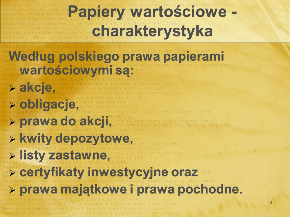 Papiery wartościowe - charakterystyka