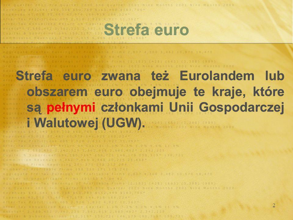 Strefa euro Strefa euro zwana też Eurolandem lub obszarem euro obejmuje te kraje, które są pełnymi członkami Unii Gospodarczej i Walutowej (UGW).